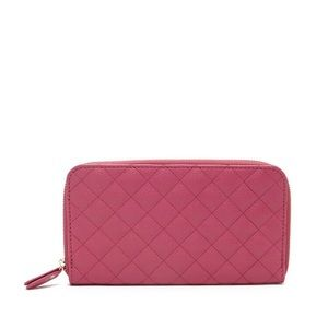 New Hot Pink Quilted Faux Leather Wallet Clutch